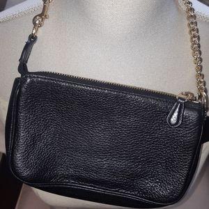 Coach Bags - Coach  black pebbled leather small handbag wristle